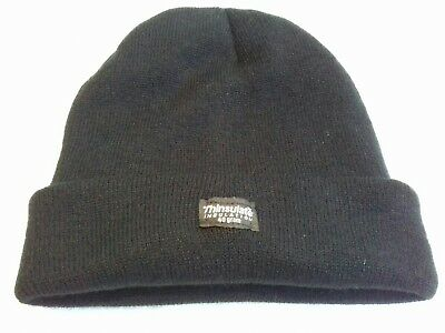 9609919050a Black Knitted Acrylic Beanie Hat BNWOT Thinsulate 40g Reg One Size  Fleece-Lined