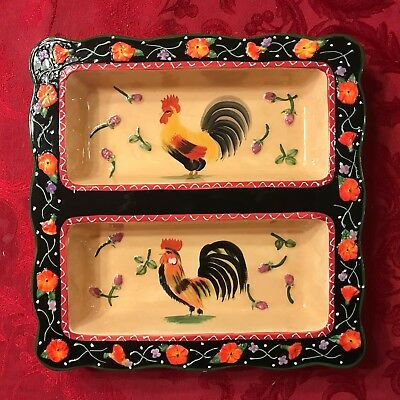 Decorative Rooster Divided Serving Tray from Jay Import Hand Painted Beautiful