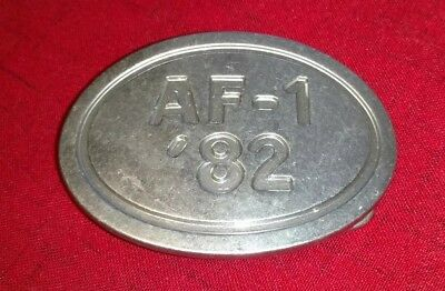 """NIKE AF-1 '82 Belt Buckle Pewter BRS Air Force 1 - 3 3/4"""" x 2 3/4"""" - Preowned"""