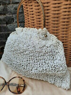 Vtg Original 40s 50s White Ivory Knitted Handmade Brass Handled Grab Handbag...