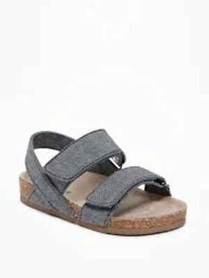 New Toddler Boys Old Navy  Chambray Blue Double Strap Sandals 5 7