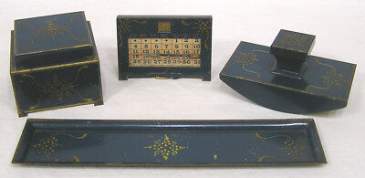Vintage Arts & Crafts 4 Pcs Desk Set Inkwell Blotter Pen Tray Calendar Blue gold