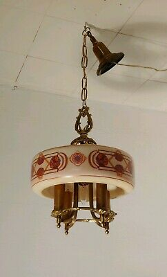 Antique Art Deco Brass Chandelier 4 Arm 5 Lights With Large Center Glass Shade