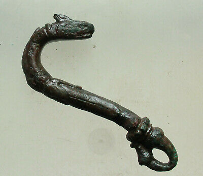 Ancient Roman Bronze Hook Head of  Dragon L=85x40x18mm 57gr.  Very Rare