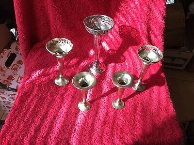 A Collection Of Five Art Deco  Silver Plate Antique Epergne. Trumpet style