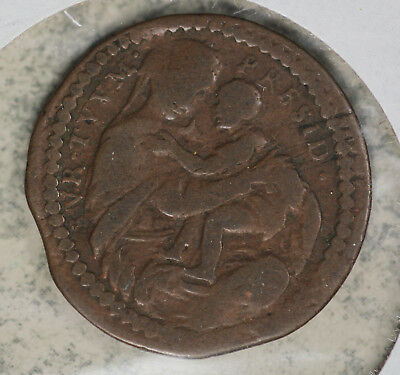 "Italian States Papal States Innocent XI ""Mary and Jesus"" Copper Coin"