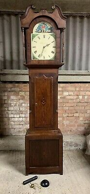 Antique Mahogany 8 day Long Case Grandfather Clock by W Helliwell of Leeds