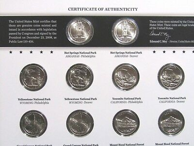 2010 P D P&D America The Beautiful ATB US MINT UNCIRCULATED Quarter Set 10 coins