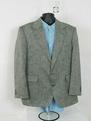 Haggar Imperial Mens Size 42R Gray Wool Tweed Blazer Sport Jacket Two Buttons