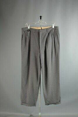Vtg Men's 1950s Grey Drop Loop Dress Slacks 34.5x27.5 50s Wool Pants #6571