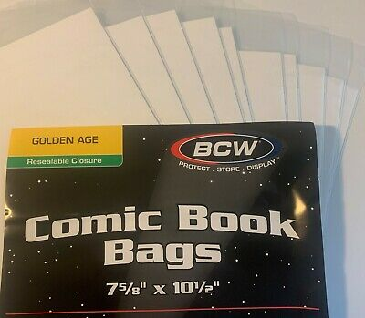 10 Pre Made Bcw Golden Age Comic Book Bags And Boards 2 Mil Acid Free