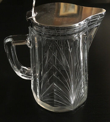 Rare Sterling And Cut Glass Syrup Pitcher Butterfly Wheat Stalks C.1910