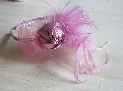 FASCINATOR by Juelz | Baby Pink | Sinamay Feathers HeadBand Rose | Wedding (15A)