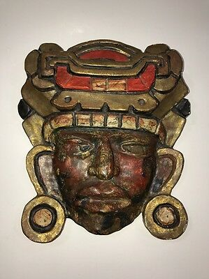 VTG Fold Art Hand carved Mexican Mayan Aztec Mask Painted Wood RR Pineda 1930s