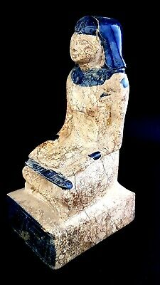 Rare huge Ancient Egyptian Seated Scribe Statue Art Pharaoh antique glazed craft