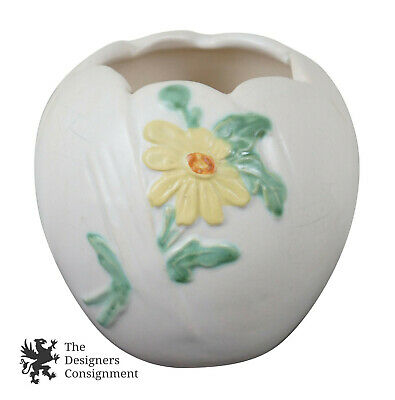 Antique 1930s Weller Pottery Flower Vase Bowl Planter Daisy Small Jardiniere
