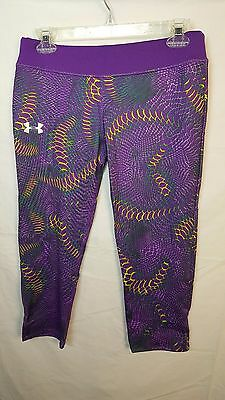 New Under Armour Girls Size YXL Heat Gear Capri Legging Multi-Colored