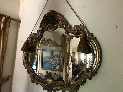 Large Antique Frech Louis XV Rococo Ornate Gold Wall Mirror
