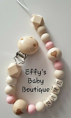 PERSONALISED💗TEETHING💗Silicone💗Wooden Dummy Clip💗BPA FREE💗Heart💗Pink
