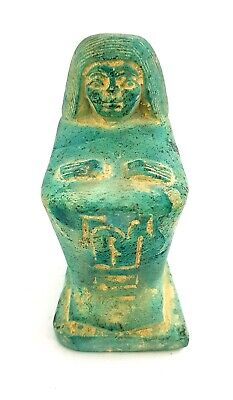 Rare Faience Egyptian Ancient Antique Carved Egypt art Statue of Kneeling Priest