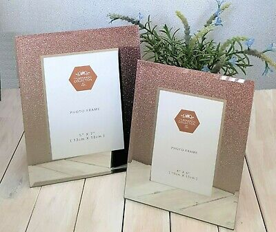 Rose Gold Glitter Mirrored Glass Photo Frame Sparkle Picture 4x6 5x7 6x8