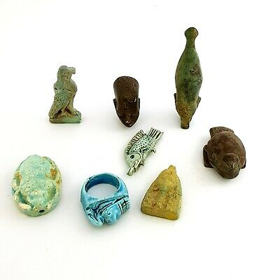 very rare collection of ancient Egyptian amulets amazing art very unique antique