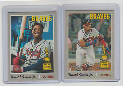 2019 Topps Heritage #500 Ronald Acuna Jr. SP 2 Card Lot Action Variation