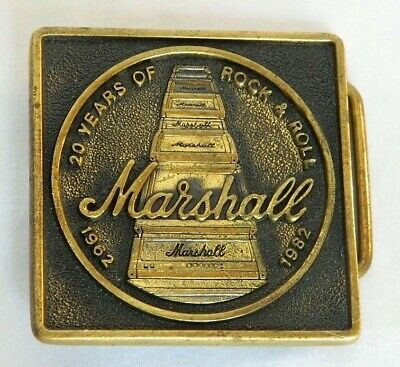 Vintage 1982 MARSHALL 20 Years of Rock Amplifier Stack Brass Belt Buckle Rare