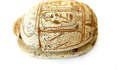Rare Scarab Egyptian Ancient Amulet Beetle Antique Bead Stone Hieroglyphics art