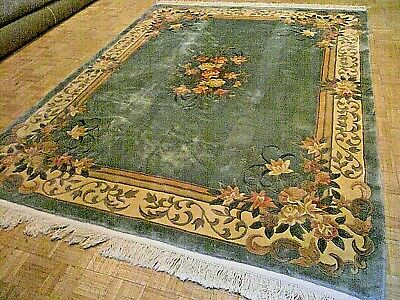 8x10 CHINESE RUG VINTAGE AUBUSSON NICHOLS AUTHENTIC HAND-MADE ORIENTAL RUG 1960s