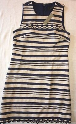 75eeacd4672 J Crew Dress 2 Striped Scalloped with Grommets NWT Navy Multi 2 New e8993