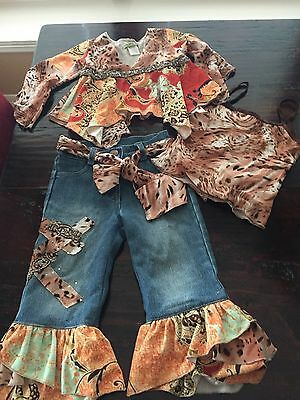 New Little Mass Girls Boutique Pageant /Casual/Denim Wear Outfit Size 2T-4Pc Set
