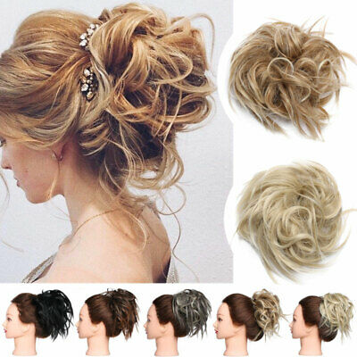 Large Thick Messy Bun Hair Piece Scrunchie Updo Cover Curly Hair Extensions UK W
