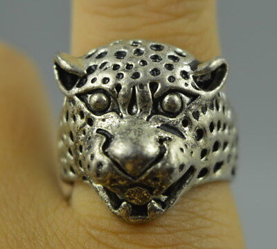 AAA Fine Decorate China Tibet Silver Carve Vivid Leopard Head Rare Noble Ring