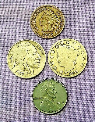 Starter Collection Mix Lot of 4 Old US Coins NO LONGER FOUND IN POCKET CHANGE