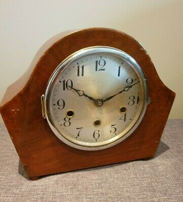 Antique 1930's German Oak Mantel Clock with Westminster Chime (Pendulum and Key)