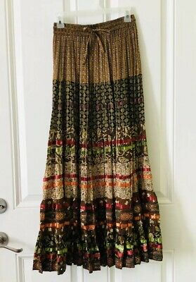 884f1bc5eb Anu by Natural Skirt Womens Medium M Boho Hippie Maxi Festival Full Multi  Color