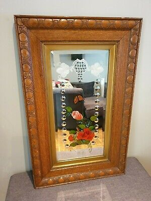 Large Solid Oak Antique Victorian Romany Gypsy Mirror (Folk Art Hand Painted)