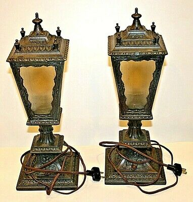 Pair Of (2) Vintage Spelter Art Nouveau Deco Lamps In Perfect Condition!