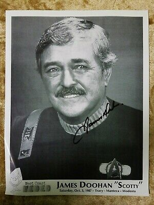 "JAMES DOOHAN Hand Signed Autographed 8x10"" Photo STAR TREK Oct. 3, 1987"