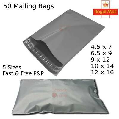 Grey Mailing Bags Plastic Mail Post Postage Polythene Strong Seal 50 Pack