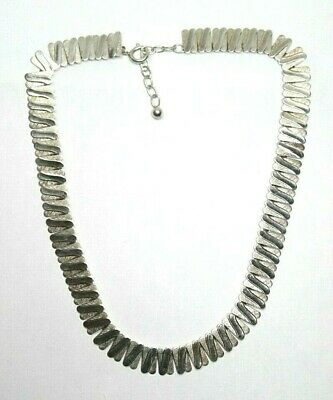 Art Deco style VA signed sterling silver collar panel necklace