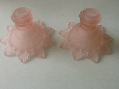 "VTG PAIR PINK SATIN FROSTED DepressionGLASS  CANDLE HOLDERS 3 1/2"" Tall 5"" Wide"