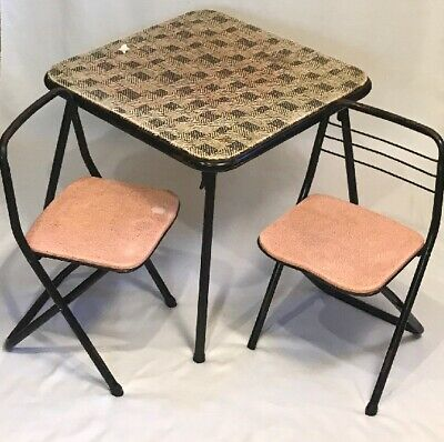VTG 1950's COSCO Black Kids Childs Metal folding card table & two chair set USA