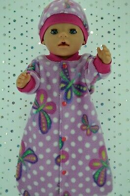"Play n Wear Dolls Clothes To Fit 17"" Baby Born POLAR FLEECE SLEEPING BAG~HAT"