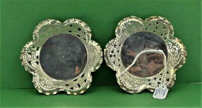 2 Antique Chinese Export Silver Dishes 1900 turned edges pierced Character marks