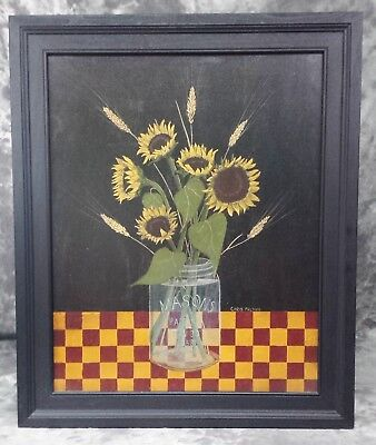 "Country Print ""sunflowers In A Mason Jar"" W/black Frame By Chris Palmer"