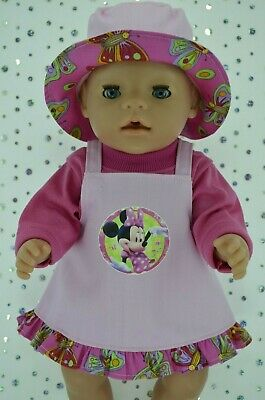 "Play n Wear Doll Clothes To Fit 17"" Baby Born  PINK DRILL DRESS~TOP~HAT"
