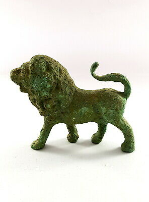 Rare fantastic Faience Egyptian Ancient Antique lion statue Sculpture Figurine