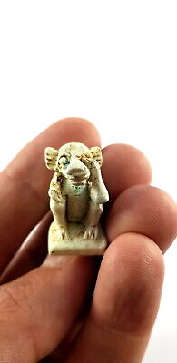Very Beautiful Rare Ancient Egyptian Baboon Faience Amulet Babi god of Fertility